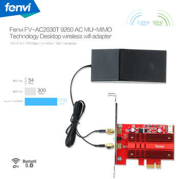 Dual Band AC2030 Wireless-ac 9260 PCIE WiFi BT 5.0 MU-MIMO 802.11ac 2.4G:300M / 5Ghz:1730Mbp Desktop WiFi Adapter for Windows 10