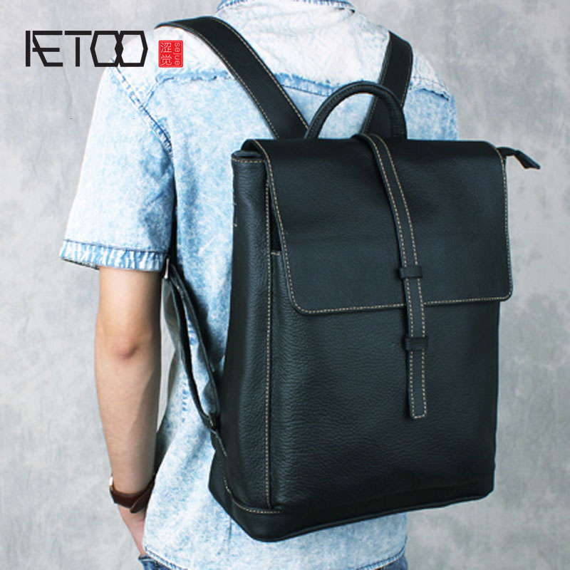 AETOO Shoulder bag male leather backpack student bag fashion business computer bag head layer cowhide men and women backpack aetoo the new canvas shoulder bag tide retro shoulder bag student backpack two color stitching backpack computer bag