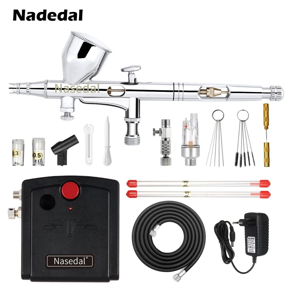 Nasedal Airbrush Compressor Kit 0 2mm Dual Action Airbrush Spary Paint Gun Nail Art Cake Car
