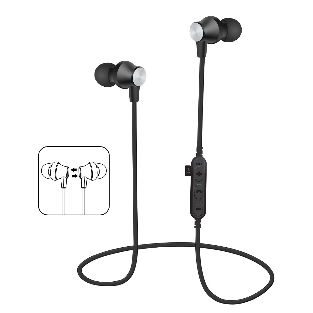 Metal Bass Bluetooth Earphone Wireless Headset Headphone With Mic Stereo Magnetic Bluetooth Headphones for Mobile Phone Sports