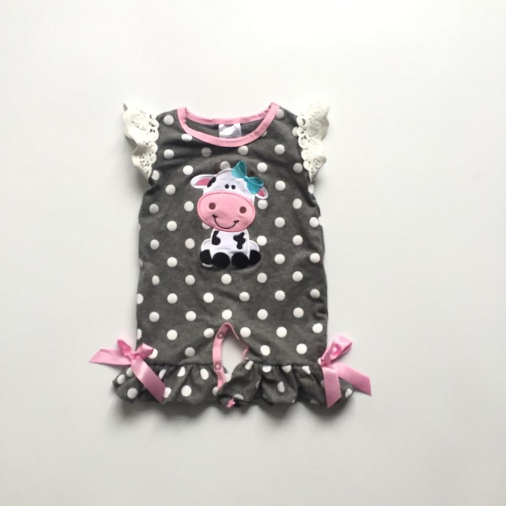 baby girls summer infant toddler baby kids dairy cattle dairy cow milch cow   romper   kids   romper   with white polka dot