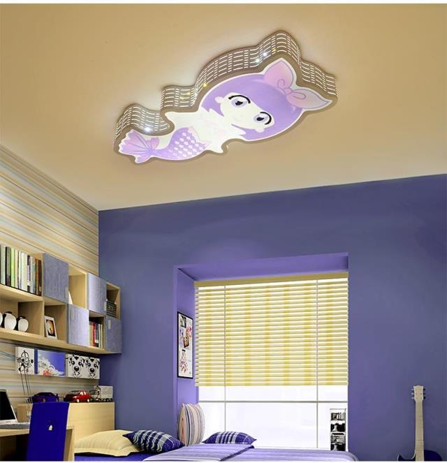 Chambre d'enfant LED chambre plafonnier personnalisé créatif soin des yeux sirène fille nouveau style plafonniers LO7246