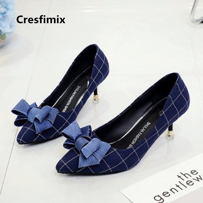 Cresfimix femmes sexy talons hauts women cute comfortable spring & autumn bow tie high heel pumps cool bow tie shoes c2990 a set of deep tartan pattern tie pocket square bow tie