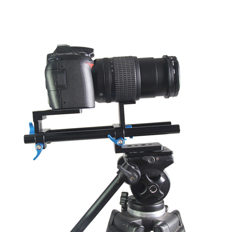 YEANGU 15mm Rail Rod Support System 12cm in Length Aluminum Alloy DSLR Camera Baseplate 3/8'' & 1/4