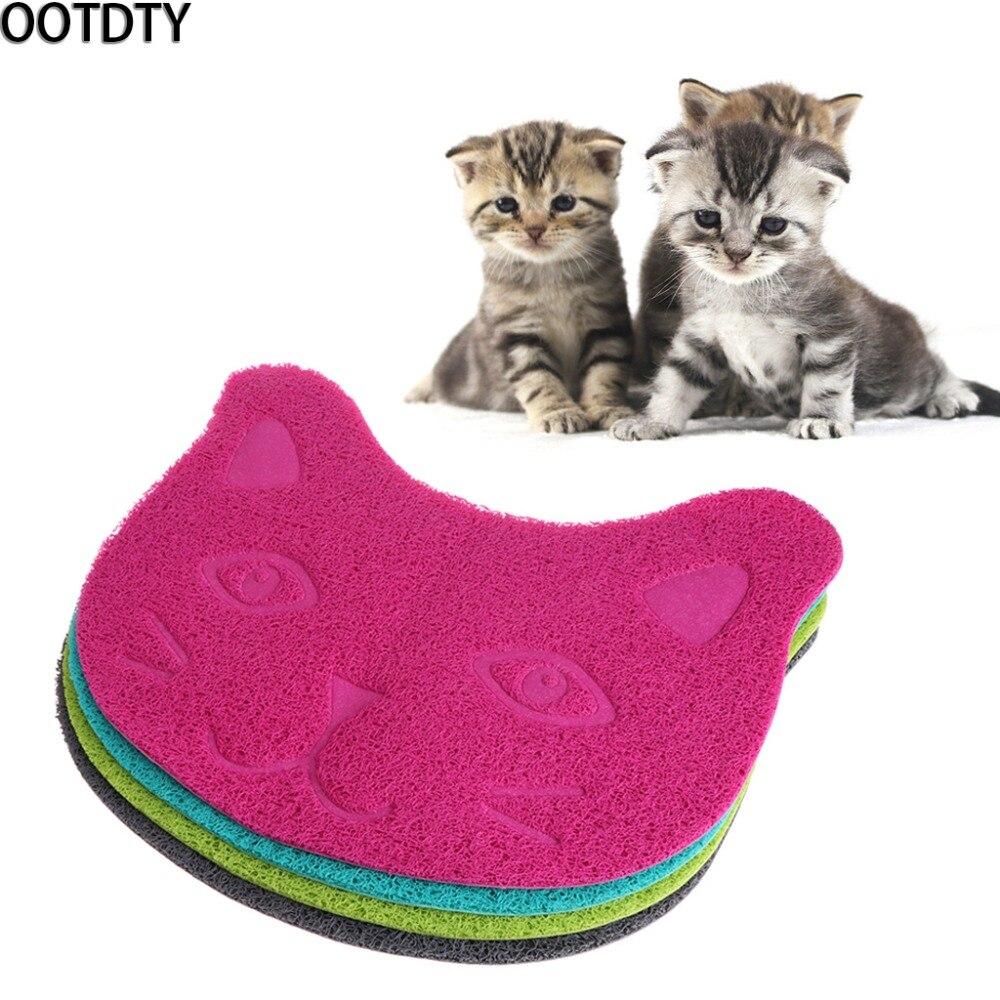 Ootdty Pet Gatti Zerbino Viso Lettiera Di Sabbia Box Di Alimentazione Ciotola Vassoio Pvc Tovaglia Ordinato Di Pulizia