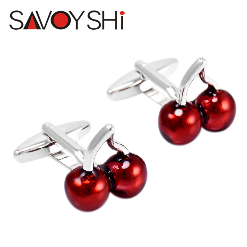 Deep Red Cherry Cufflinks For Mens Shirt Cuff Bottons High Quality
