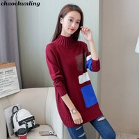 2017 New Winter Lady Sexy Pullovers European And American Knitted Sweater O Neck Long Sleeve