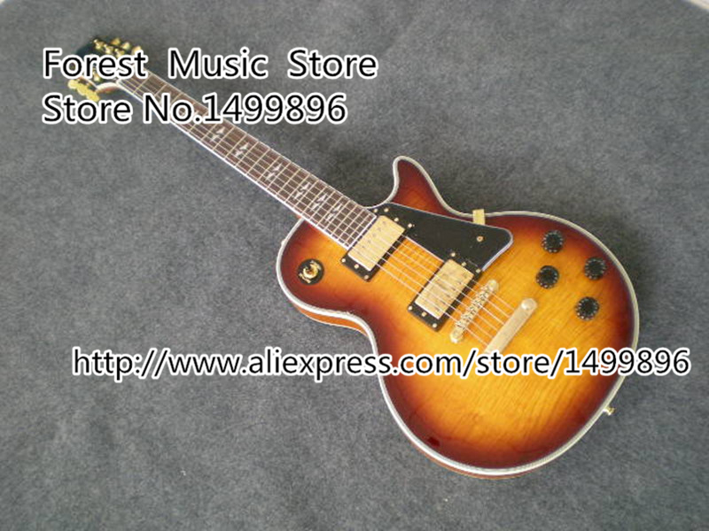 China Musical Instruments Cherry Sunburst CS Gold Hardware LP Custom Electric Guitar Lefty Available new arrival 1960s corvette lp electric guitar in black china lp guitars lefty available