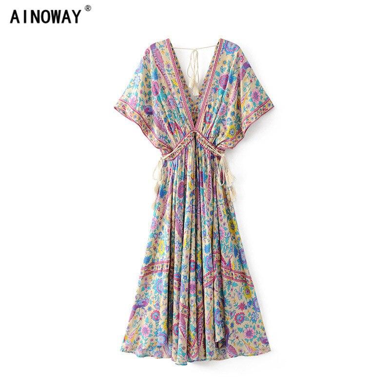2018 vestido vestidos de impresión Floral playa de La Manga del palo largo de Bohemia mujeres vestidos maxi vestido señoras V cuello borla verano Boho vestido