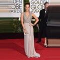 2015 Oscar Academy Prêmios Mundiais de ouro Lantejoulas Chiffon Frisado V Pescoço Vestidos Sexy Celebridade Do Tapete Vermelho Vestido de Noite do baile de Finalistas Vestidos