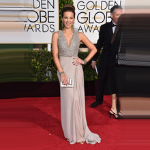 Goldene Globale Academy Awards 2015 Oscar Chiffon Perlen Pailletten V-ausschnitt Red Carpet Dresses Sexy Promi Kleid Abend Prom Kleider