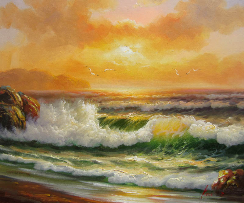 Hand Painted realism Oil Painting Seascape Waves No.14 Home ...