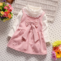 2016 Baby Girls Dress Cute Pearl bowknot Long Sleeve Spring Sport Princess Style Party Clothing