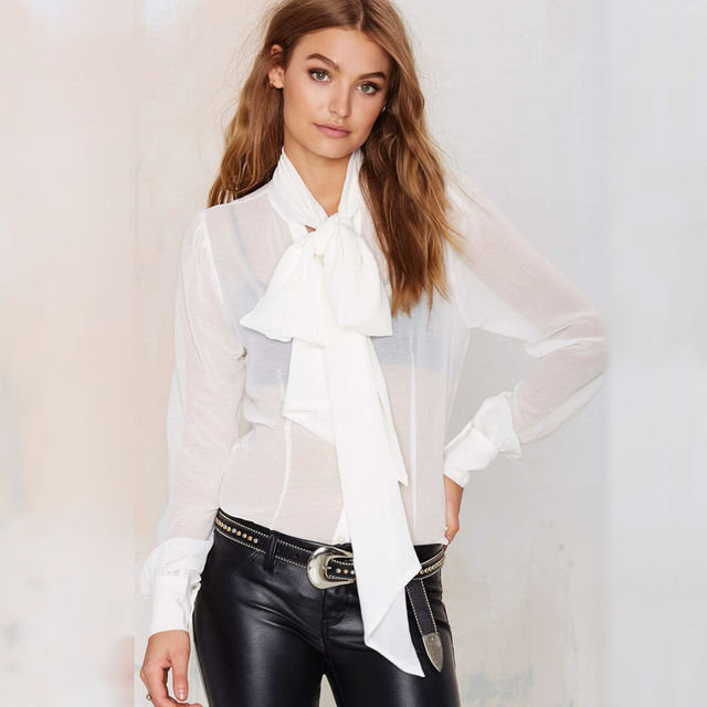2c9e4e638085f6 Women's Pussy Big Bow Tie Long Sleeve Chiffon Blouse Evening Party  Perspective Casual Shirt
