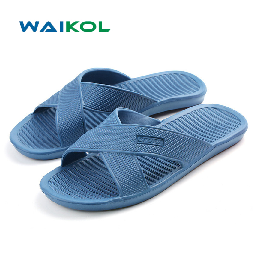 Waikol Summer EVA Massage Foam Beach Men Shoes Flat Sandals Non-slip Bathroom Household Room Indoor Home Slippers 50%off men shoes summer eva massage foam beach flat sandals non slip bathroom household room indoor home house shoes