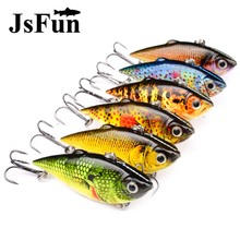 JSFUN 6PCS/PACK VIB Fishing Lure Kit 8.6g/6.4cm Artificial Bait With 8# Hook 6 Colors All The Water Fishing Tackle fu1047