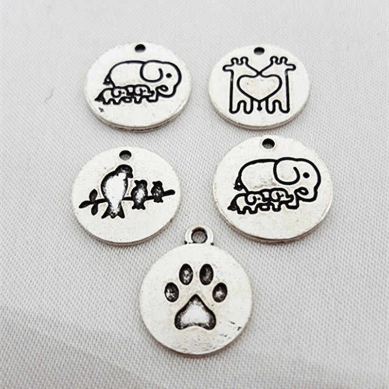 5pcs/lot High quality antique silver pendant Elephant Girafe Bird charms Alloy Plated Charm Metal Printed Animals Bracelet Charm