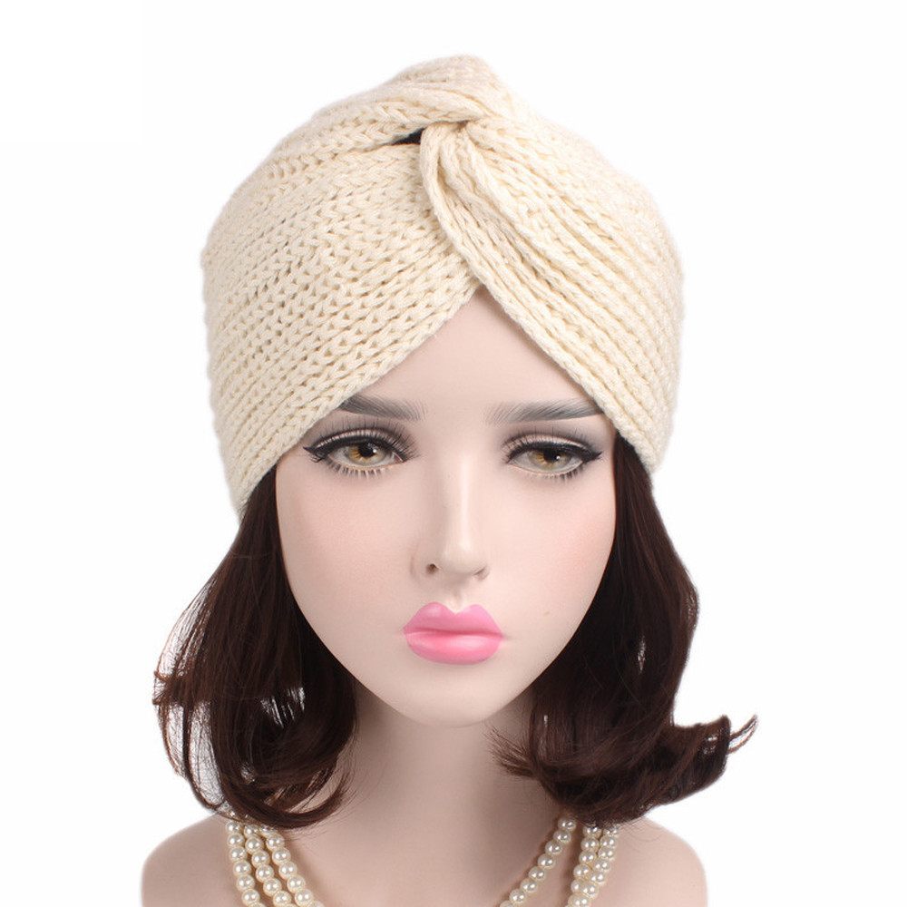 5bfbdaf11fa Classic popular Women Ladies Retro Winter Knitting Hat winter hats Turban  Brim Hat Cap Pile Caps casquette-in Skullies   Beanies from Men s Clothing  ...