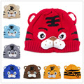 Baby Knitted Tiger hats Animal Beanie hats Kids Beanies Carton design Winter Warm Knitted hat Infant Girls Crochet hat 1pc H001