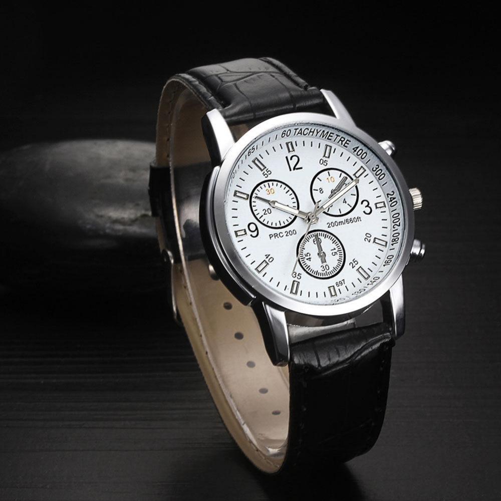 Fashion Men's Business Watch Luxury Leather Blue Ray Glass Wristwatch Quartz Brand New High Quality