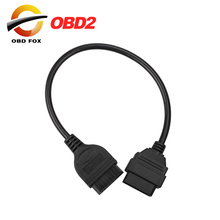 10pcs/lot for Nissan 14 Pin to OBD 2 16 Pin OBD2 OBDII Extension Diagnostic Tool Adapter Connector Cable Free Shipping