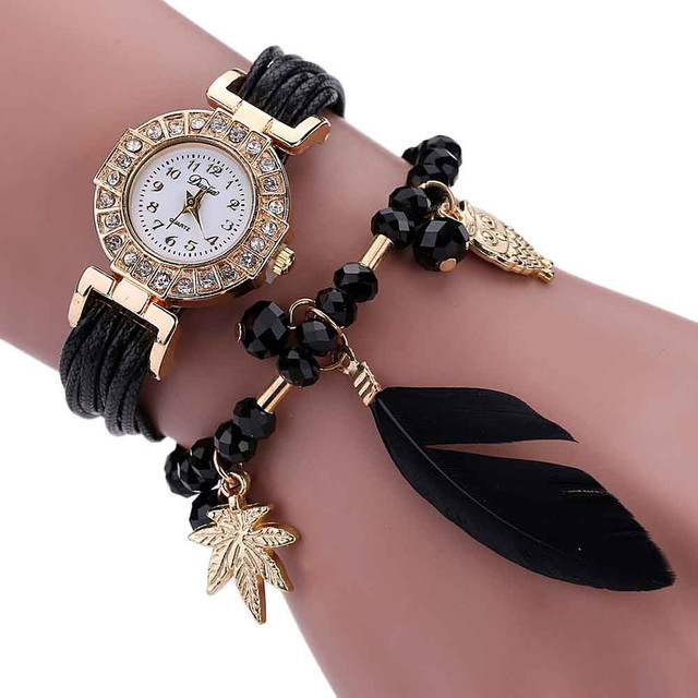 fashion Women's Bracelet Watches Feather Weave Wrap Around Crystal Synthetic Cha