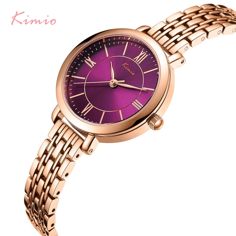 KIMIO Simple Roman Numerals Dial Rose Gold Bracelets For Women Luxury Brand Watch Women Quartz Womans Watch Ladies Wrist Watches new watch women hollow out alloy dial clcok faux leather analog quartz watch roman numerals ladies casual wrist watches women
