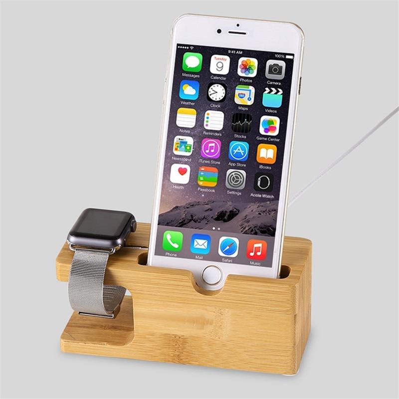 100 Natural Bamboo Charging Dock Station Bracket Cradle Stand Phone Holder For font b Apple b