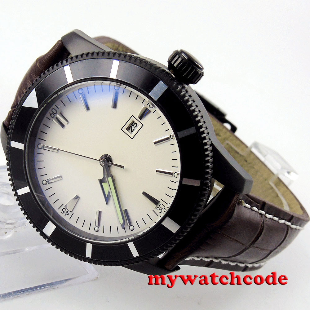 46mm bliger white dial PVD case deployment clasp automatic mens wrist watch B127 цена и фото