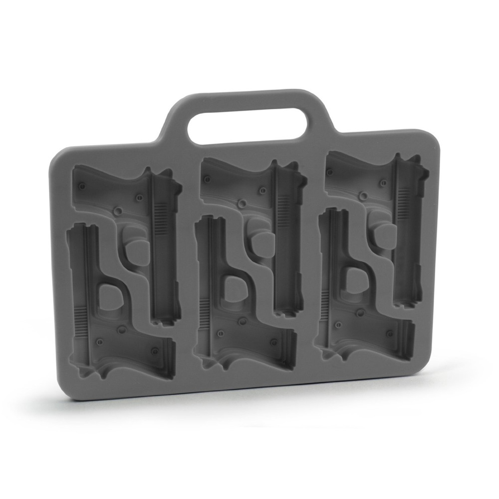 Hot New Black Stylish Gun Shaped Silicone Ice Cube Mould Mold Tray DIY