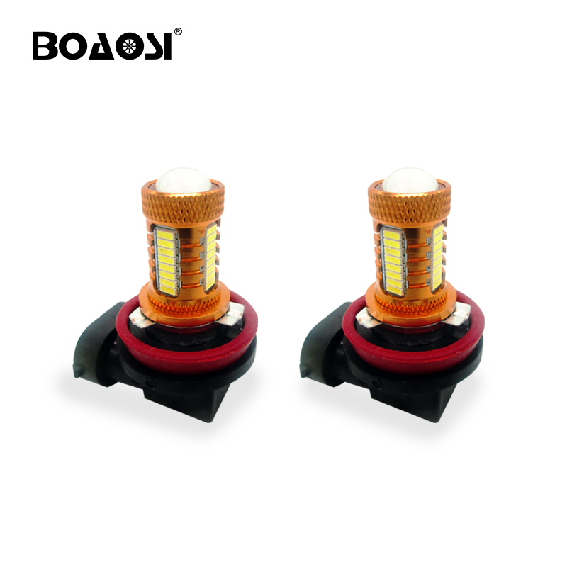 BOAOSI 2pcs Super Strong <font><b>LED</b></font> H8 H11 HB3/9005 9006/<font><b>HB4</b></font> <font><b>LED</b></font> High Power 4014 <font><b>CREE</b></font> Chip Car Fog Bulb Lamp 6000K White image