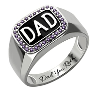 Sweey Wholesale Manufacture Hot Selling Trendy Male Ring for Father Customized Ring for Men Customized Men's Birthstone DAD Ring