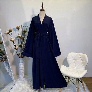 Image 3 - Katı Kimono açık Abaya Dubai Kaftan müslüman başörtüsü elbise Abayas kadınlar için elbise Africaine Femme Kaftan türk İslam giyim umman