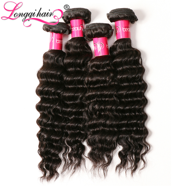 Aliexpress Longqi Hair 4 Bundles Deep Wave Peruvian Hair Remy Hair