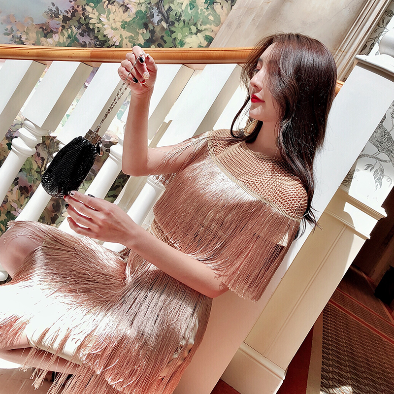 Image 2 - fringe dress vintage elegant sexy party club wear beach mesh tight streetwear sundress runway  women summer dress 2019 tassel-in Dresses from Women's Clothing