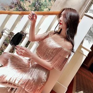 Image 2 - fringe dress vintage elegant sexy party club wear beach mesh tight streetwear sundress runway  women summer dress 2019 tassel