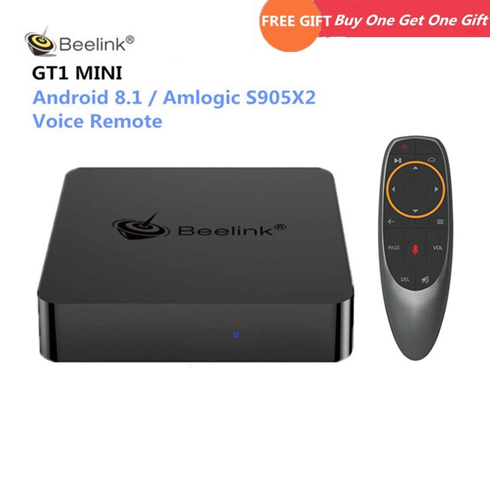 Beelink GT1 MINI Smart TV Box Android 8.1 Amlogic S905X2 télécommande vocale décodeur 4 K 4 GB 32 GB/64 GB Bluetooth lecteur multimédia