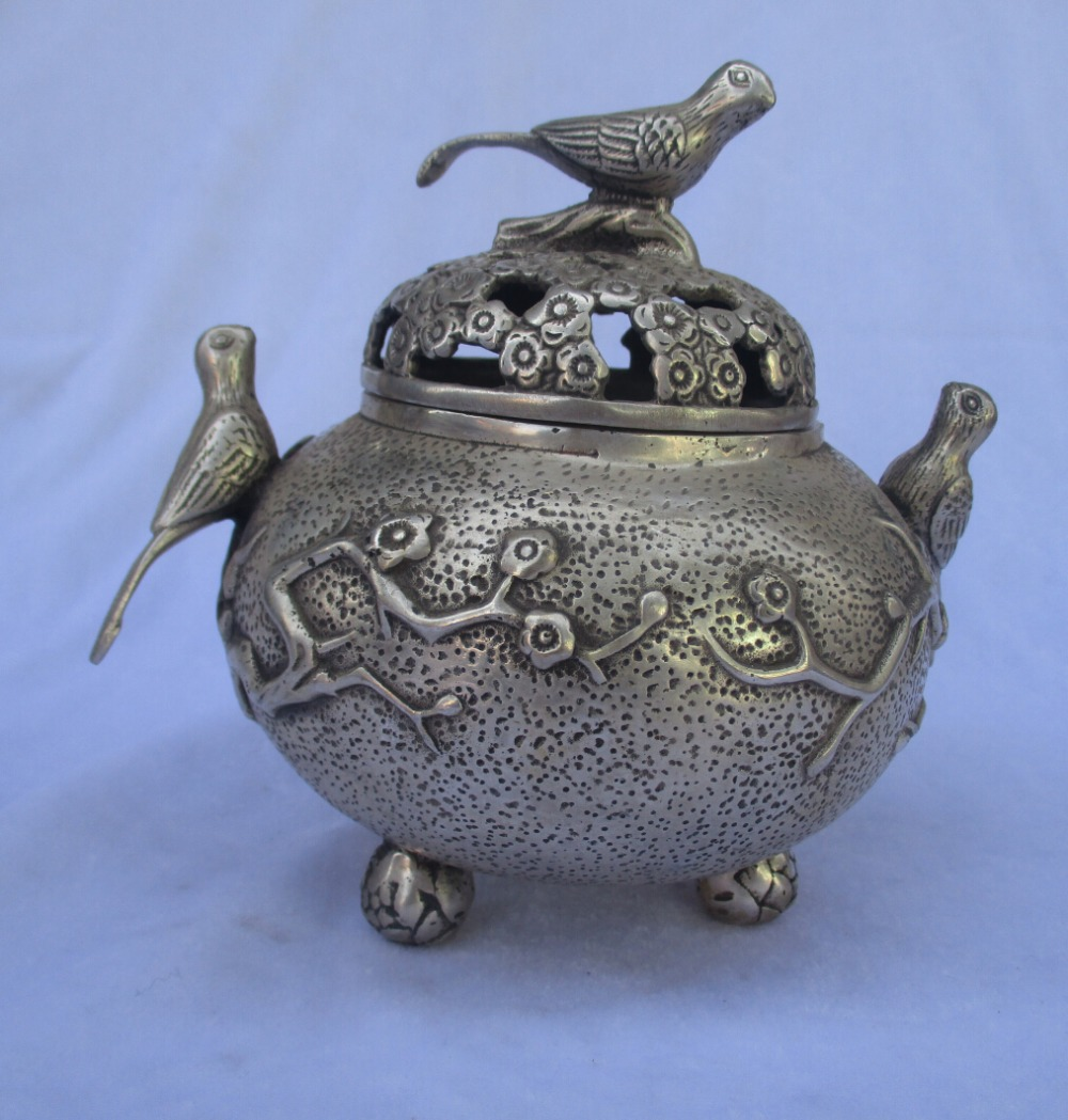 collectible decorated old antique tibet silver carved 3 bird  incense burner/metal censer Free Shipping 0009collectible decorated old antique tibet silver carved 3 bird  incense burner/metal censer Free Shipping 0009