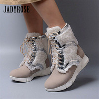 Jady Rose 2018 New Winter Women Warm Snow Boots Fashion Fur Boots Female Rubber Platform Botas