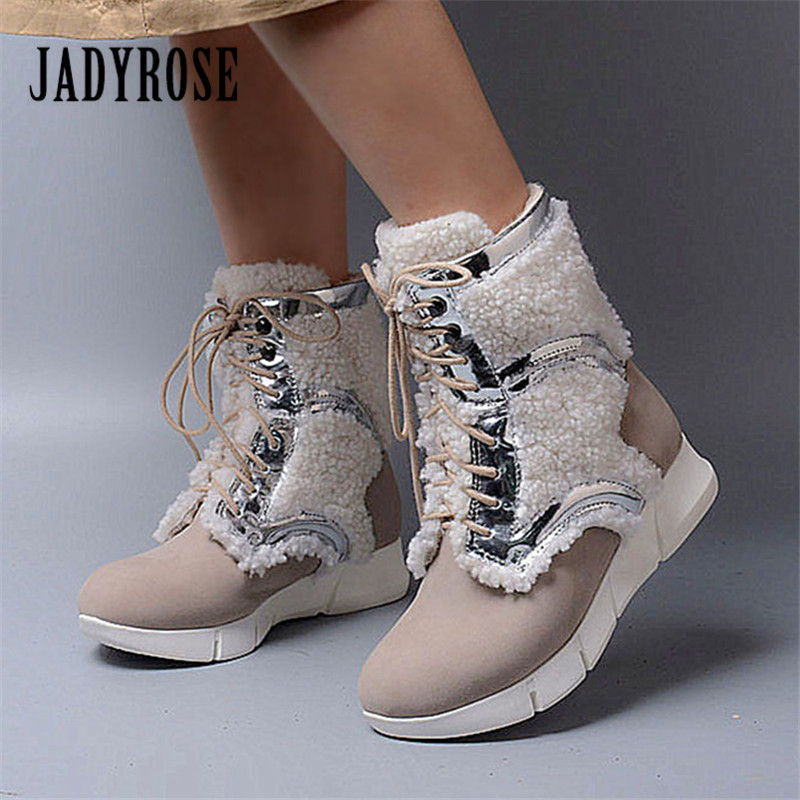 Jady Rose 2018 New Winter Women Warm Snow Boots Fashion Fur Boots Female Rubber Platform Botas Comfortable Lace Up Ankle Boot 2017 new fashion genuine leather snow boots female winter platform ankle boots women zipper lace up boots