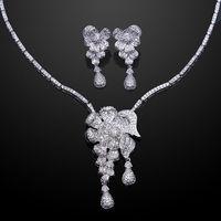 Elegant Jewelery Arrival Flower Wedding Jewelry Set Cubic Zirconia Neckalce Earrings Prong Setting Platinum Plated Lead