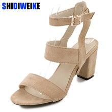 cf388147f SHIDIWEIKE Verão Mulheres Sandálias Peep Toe de Salto Quadrado Bombas Dos  Saltos Altos Mulheres Sapatos de