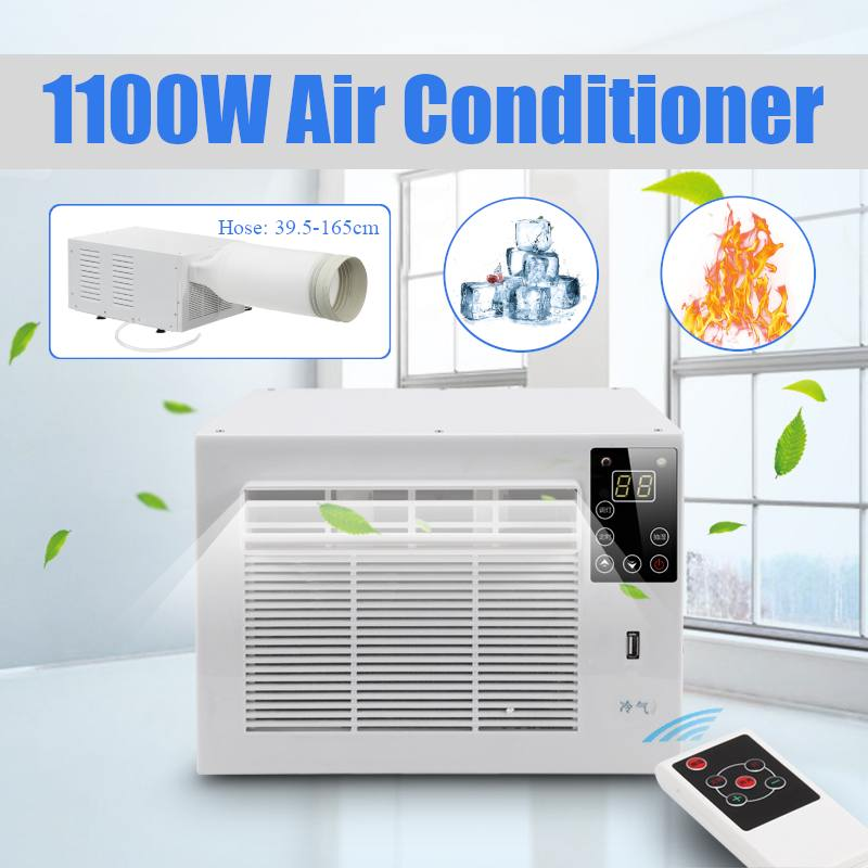 NEW 220V/AC Desktop Air Conditioner 1100W Cold/Heat Dual Use 24-hour Timer With Remote Control LED Control Panel+1X Exhaust Hose