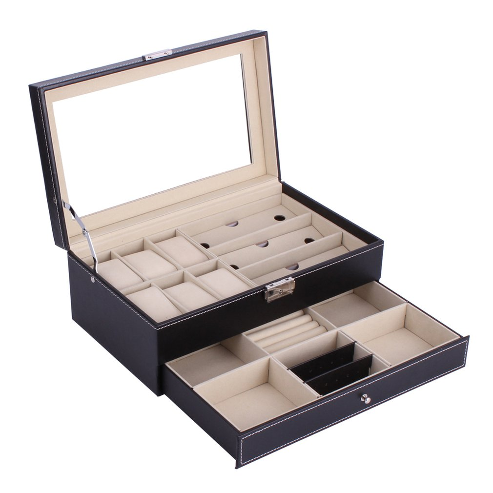 OUTAD PU Leather Watches Box Double Layers 6 Grids Watch + 3 Grids Glasses Holder Rings Bracelet Storage Jewelry Display Case russia s old elm purple yu pure real wood double box box jade jewelry bracelet receive a cassette of the lock
