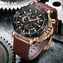 BRECHEN Chronograph Beiläufige Uhr Männer Luxusmarke Quarz Militär Sportuhr Echtes Leder herren Armbanduhr Relogio Masculino