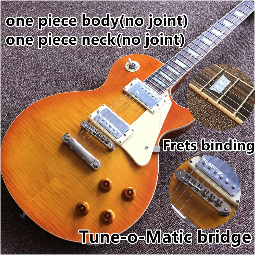 Vicers One Piece Neck One Piece Body Electric Guitar In Sunburst ,Upgrade Tune-o-Matic Bridge Guitar Tiger Flame Standard Guitar(China)