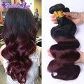 Annabelle 8A Cabelo Brasileiro da Onda Do Corpo Do Cabelo Virgem Ombre 1B/99J 3 Pacotes Ombre Brasileira Pacotes Tecer Cabelo Humano Feixes de cabelo
