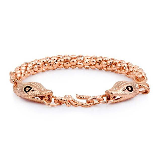 f69e85eb18e US $6.99 |2016 New High Quality 18K Rose Gold Plated Double Alligator head  Linke Bold Chain Bracelet Fashion Jewelry For Womens Girls-in Chain & Link  ...