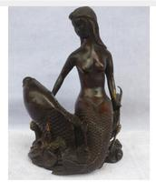 Copper Brass Chinese Old Copper/bronze Carved Beauty Women And Fish Sculpture/ Mermaid Statue