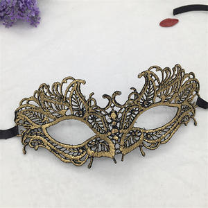 Image 3 - Lovely Pet Golden Hot Stamping Ladies Sexy Lace Masquerade Mask for Carnival Halloween Porm Half Face Ball Party Masks #30